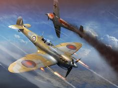 Spitfire Takes Down a Me Bf-109 in Style.