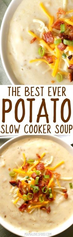 BEST SOUP EVER!!! husband and kids all love this one!  Loaded Baked Potato Soup Recipe - How to Make Slow Cooker Crock Pot Style Creamy Potato Soup