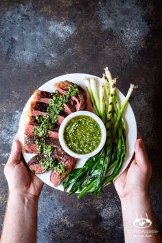 Cooking steak is hard. Cooking Sous Vide Steak with Chimichurri Sauce and Grilled Scallions couldn't be easier! Sous-vide cooking provides consistently great results EVERY SINGLE TIME! Steak With Chimichurri Sauce, Sous Vide Cooking, Strip Steak, How To Cook Steak, Coriander, Cilantro, Avocado Toast, Nom Nom, Breakfast