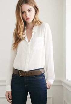 Semi-Sheer Tonal Stripe Shirt | Forever 21 - 2000078506