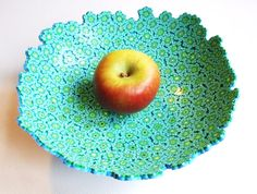 polymer clay green flowers fruit/trinket bowl