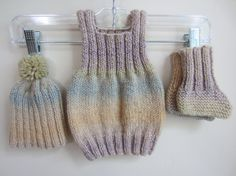 Baby Sweater Vest Hat & Bootie Sock Set Wool Acrylic by TooCozy