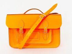 DESIGNER LEDER SCHULTER LEHRER TASCHE BAG neon orange - LUXUS! /OR954 bei Secondherzog