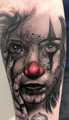 Tattoo design, body tattooing and body tattoo training … – tattoos for women meaningful Clown Tattoo, Creepy Tattoos, Skull Tattoos, Body Art Tattoos, Sleeve Tattoos, Design Tattoo, Tattoo Designs, Dark Tattoo, Chicano Art
