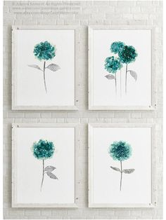 Canvas Wall Decor, Diy Wall Art, Nursery Wall Art, Wall Art Prints, Green Wall Decor, Green Decoration, Hydrangea Painting, Leaf Art, Pictures To Paint