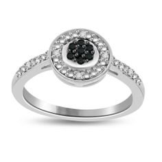 Black & White Natural Diamond Sterling Silver Promise Ring 7