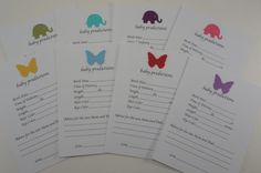 Baby Prediction Cards  Baby Shower  Baby by AllOverCreations, $8.50
