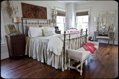 photo 26_zps575bdd2b.jpg. old painted cottage jan 2015. could make similar bed cover using drop cloth