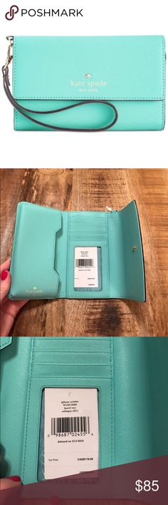 Kate Spade ♠️ iPhone Wristlet The color is a soft aqua saffiano leather. Gorgeous!   Will fit iPhone 6, 7, 8, X... will NOT fit the plus phones.  Has ID window along with bill & card slots. kate spade Bags Clutches & Wristlets