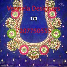 Embroidery Neck Designs, Hand Work Embroidery, Sari Blouse Designs, Blouse Patterns, Zardosi Embroidery, Maggam Work Designs, Blouse Models, Fancy, Work Blouse