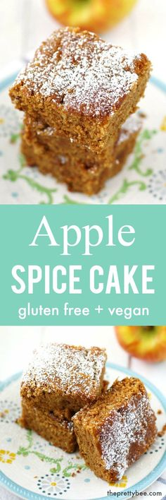 Delicious and moist apple spice cake is gluten free and vegan. An easy recipe for fall! Delicious and moist apple spice cake is gluten free and vegan. An easy recipe for fall! Gluten Free Sweets, Gluten Free Cakes, Gluten Free Cooking, Gluten Free Recipes, Vegan Recipes, Baking Recipes, Fun Cooking, Doce Light, Spice Cake Recipes