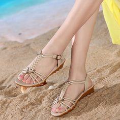 Sale 23% (24.94$) - US Size 5-11 Women Flats Soft Summer Beach Heeled Sandals Leather Casual Outdoor Knitting Shoes