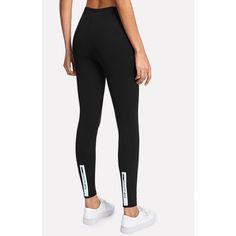 Letter Print Leggings ($7.49) ❤ liked on Polyvore featuring pants, leggings, black, stretchy leggings, capri trousers, capri leggings, stretch trousers and stretchy capri pants