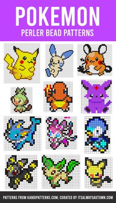 The GIANT list of Perler Bead Patterns {fuse beads, melty beads} - It's Always Autumn Perler Bead Designs, Perler Bead Pokemon Patterns, Pokemon Perler Beads, Melty Bead Patterns, Perler Bead Templates, Diy Perler Beads, Pearler Bead Patterns, Beading Patterns Free, Perler Bead Art