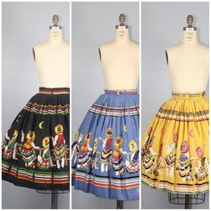 This item is unavailable Vintage Clothing, Vintage Outfits, Retro Summer, Border Print, Novelty Print, Cotton Skirt, Sun Moon, Printed Skirts, Frocks