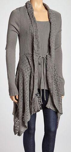 Gray Sidetail Cardigan