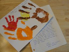 Idea for Sponsor Children Package - what a fun idea with the handprints!