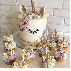 Whimsical unicorn cake/cupcakes for a girls birthday party Pretty Cakes, Cute Cakes, Beautiful Cakes, Amazing Cakes, Yummy Cakes, Unicorn Birthday Parties, Unicorn Party, Unicorn Cakes, Birthday Ideas