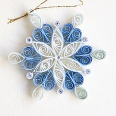 6 point blue and white quilled snowflake with silver glitter and silver diamante | by redflameuk