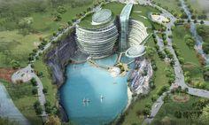 Shimao Hotel Built Into Quarry Has Underground Aquarium And More | Must Do Travels