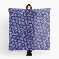 Navy and white Doodle Roses scarf by Notsundoku | Redbubble. A repeat pattern of hand drawn doodle roses. #repeatpattern #patterns #roses #doodles #doodleart #flowers #handdrawn #Notsundoku #Redbubble #scarf #fashion