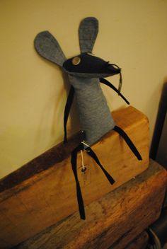 """Paco"" Casa Morada's wee mouse in residence, relaxing on a drift wood plank. Textile art. Casa Morada, Edinburgh."