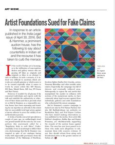 Artist Foundations Sued for Fakes - M F HUSAIN, S H RAZA | India Legal 16-31st July 2016 issue
