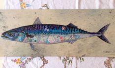 Mackerel textile embroidered art