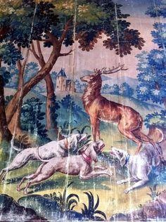 Antique Aubusson watercolour tapestry cartoon c.1870 - 1890