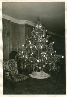 Black and White Vintage Snapshot Photograph Dad Daughter Christmas Tree