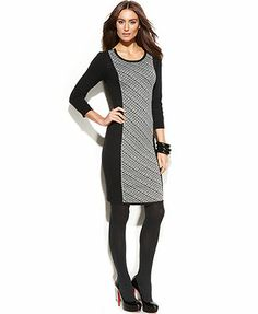 Ellen Tracy Dress, Three-Quarter-Sleeve Printed Colorblock Sweater from Macy's