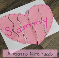 Valentine's day crafts for kids - heart name puzzle! Such a great and easy Valentine activity for preschoolers. day preschool A Valentine Name Puzzle - Preschool Valentines Day Craft - How Wee Learn Valentines Day Crafts For Preschoolers, Valentine's Day Crafts For Kids, Valentines Day Activities, Valentine Day Crafts, Valentine Ideas, Valentines Crafts For Kindergarten, Printable Valentine, Homemade Valentines, Valentine Wreath