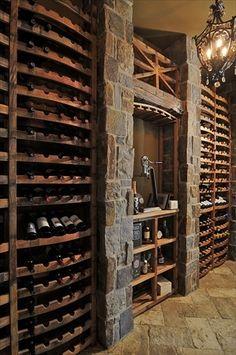 reclaimed wine barrel racking, home decor, home improvement, repurposing upcycling Wine Shelves, Wine Storage, Tasting Room, Wine Tasting, Bodega Bar, Wine Barrel Table, Wine Barrels, Wine Cellar Basement, Home Wine Cellars