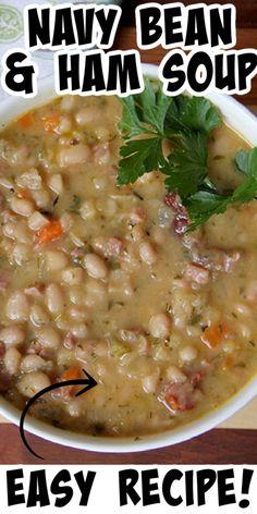 Navy Bean Soup, Bean And Bacon Soup, Bean Soup Recipes, Navy Bean Recipes, Ham Hock Soup, Ham Hocks And Beans, Navy Beans And Ham, Crockpot Ham And Beans, Easy Ham And Bean Soup Recipe