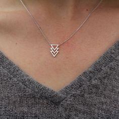 Triple Triangle Necklace - Silver