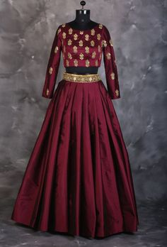 Maroon designer indian dress with dupatta More