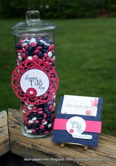 wedding shower favor and table decoration (with M)...in wedding colors of navy and hot pink