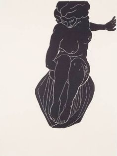 """Buy The Seamstress' Tale #4, a Linocuts on by Christian Johnson from United States. It portrays: Nude, relevant to: silhouette, black and white , limited edition, relief print, nude From a suite of four prints called """"The Seamstress' Tale"""". Hand-pulled prints on Japanese Gifu paper. Edition of 10."""