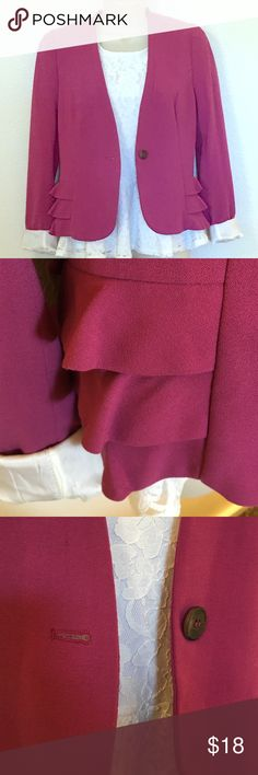 Deep Plink Ruffle Blazor Pink blazer with button on the front. Ruffles are detailing he side. Sleeves can be rolled up or down. H&M Jackets & Coats Blazers