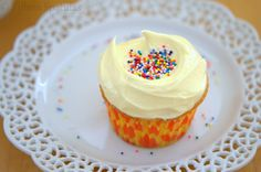 The fluffiest, lightest, most flavorful white cupcakes you'll ever make, with a French almond buttercream.