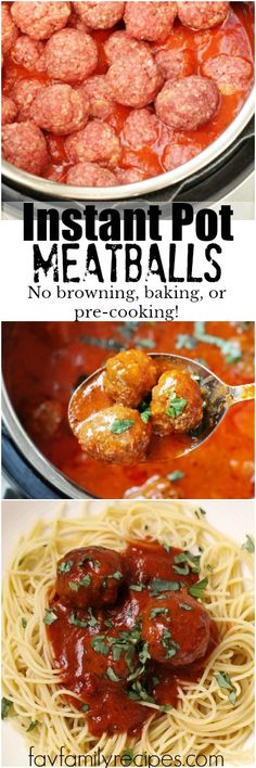 These Instant Pot Meatballs are the easiest way to make meatballs EVER. No browning or sautéing. Just throw them in the sauce uncooked and let the IP do the rest! #instantpot #meatballs #spaghetti #pasta #easydinner #dinner