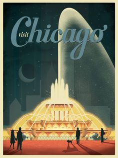 Chicago Buckingham Fountain poster - ANdy Gregg for Anderson Design Group