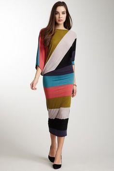 Asymmetrical Dolman Sleeve Maxi Dress