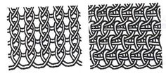 the one on the right looks like needle lace cloth stitch, I don't know what the one on the left is, it almost looks like knit