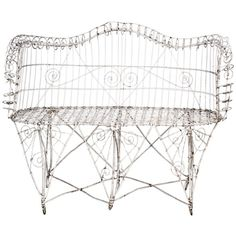 View this item and discover similar for sale at - An original woven iron love seat from the turn of the century. Vintage Patio Furniture, Modern Garden Furniture, Victorian Irons, Victorian Gardens, Architectural Antiques, Butterfly Chair, Wicker, Love Seat, Architecture