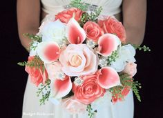Wedding bouquet with coral and white