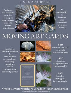 Our Story  Inspired by Prue Jeffries' nature photographs from around our planet, the Moving Arts Cards awareness practices are drawn from Elaine Colandrea's years of teaching Continuum. The intention is to create an artful home practice that extends a class/workshop experience.  The first edition is a set of 36 living art experience cards wrapped in a silver organza bag that you can take with you anywhere.  Your Moving Art Cards order is a donation to support Watermark Arts. Art Cards, Art Of Living, Photographs, Workshop, Teaching, Inspired, Create, Bag, Nature