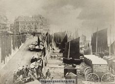 BRIGHTON BEACH AND KINGS ROAD This photograph appears to have been taken about 1880. The busy scene on the Fish Market beach shows how much we have lost through the decline of the fishing industry during the past hundred years. It used to be said, with some truth, that 80 years ago, if one was so disposed one could walk from East Street to Russell Street merely by steeping from one boat to another, without ever setting foot on the beach. The promenade was widened here, and the wooden…