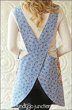 Indygo Junction's Crossback Reversible Apron pattern slips on over your head…