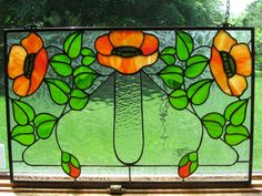 Kelling Heath Poppy Art Nouveau Craftsman Style Stained Glass Panel, window, suncatcher gift